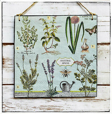 £9.90 • Buy Wall Hanging Sign/picture Vintage Style Herbarium Garden Herbs Bee Butterfly
