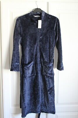 £10 • Buy Bon Marche Womens Zip Front Soft Cosy  Dressing Gown In Dark Blue Polyster