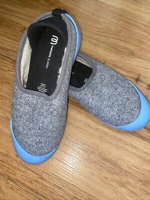 $22 • Buy Mahabis Classic Wool Slippers Gray Removable Teal Sole Women's Size 37 6.5-7 US