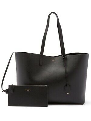 AU1200 • Buy NEW Auth SAINT LAURENT Black Leather Shopper Tote NEW WITH TAGS