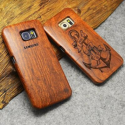 AU16.22 • Buy Natural Wooden Wood Carving Case Bamboo Cover For Samsung Galaxy S9 Plus/S8/S7