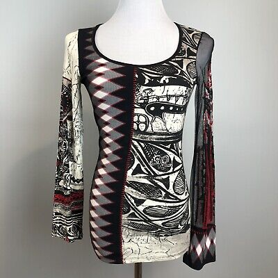 AU65.53 • Buy Save The Queen Spellout Black Red Mesh Long Sleeve Blouse M/L