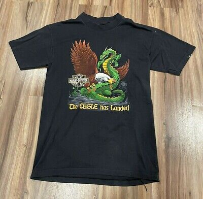 $ CDN75.31 • Buy Vintage Harley Davidson Dragon The Eagle Has Landed Motorcycle T Shirt Sz S/M