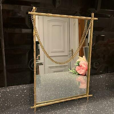£15.99 • Buy Antique Style Gold Hanging Chain Mirror Metal Frame Rectangle Glass Wall Mirror