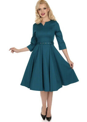 Hearts And Roses Teal Grean Blue Swing Dress Vintage 50s Circle 16 Xl • 30£