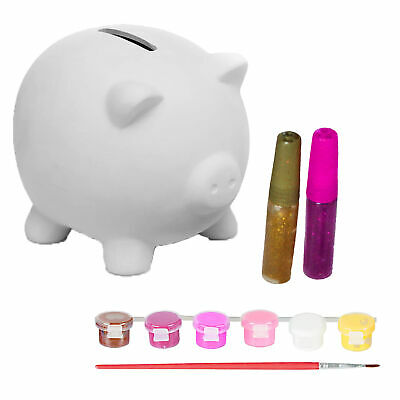 £4.99 • Buy Grafix Paint Your Own Piggy Bank Money Box With Glitter Children's Gift Age 5+