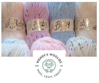 Baby DK SPARKLE Print Knitting Crochet Yarn Wool 100gm ALL 6 SHADES • 2.75£