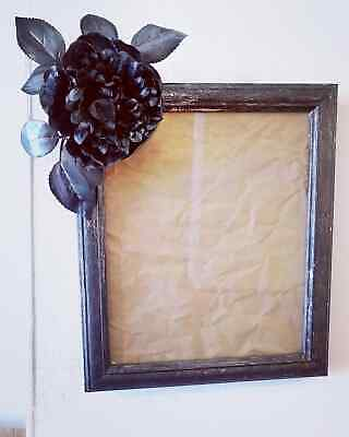 Large Black Flower Gothic Photo Picture Frame Distressed Silver 10 X 8  Gift  • 13.99£