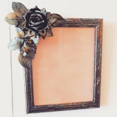 Black Rose Goth Photo Picture Frame Distressed Silver Gold Copper 10 X 8  Gift  • 13.99£