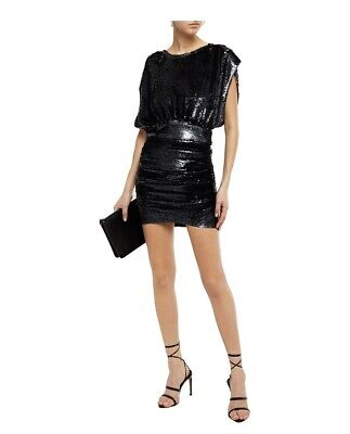 $ CDN149.39 • Buy $620 IRO Stunning Ruched Sequined Mini Dress Size 36Fr / 4 US In Charcoal