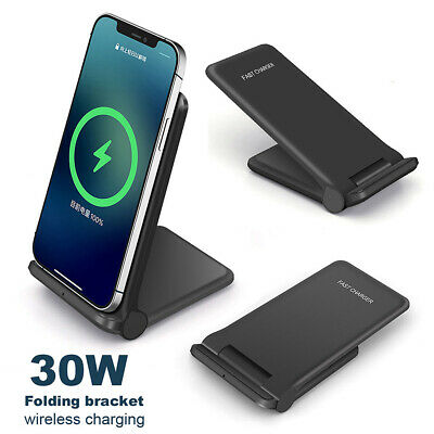 $ CDN17.14 • Buy 30W Qi Fast Wireless Charger Foldable Stand Pad For IPhone 12 Pro XS Samsung S21