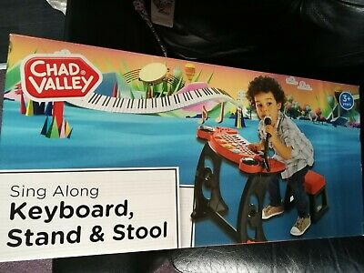 £19.99 • Buy Chad Valley Sing-Along Keyboard Stand & Stool With Microphone Red And Black-New