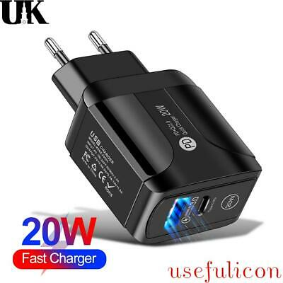 £6.49 • Buy EU/UK/US Plug Type C Fast Wall Charger Adapter PD 20W For IPad IPhone 12 Pro Max