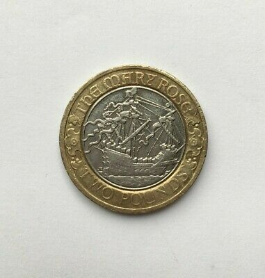 Mary Rose 2 Pound Coin (Circulated) • 2£