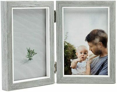 £9.95 • Buy Grey Double Twin Vertical Hinged Folding Photo Frame 6 X 4 Gift Collage 4x6