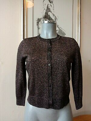 £25 • Buy LK Bennett BLACK Gold Lurex Cardigan With Gold Beading Size S NEW TAGS