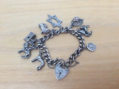Vintage Solid Silver Charm Bracelet With 8 Rare Early Charms Horses Dogs Wedding • 18£
