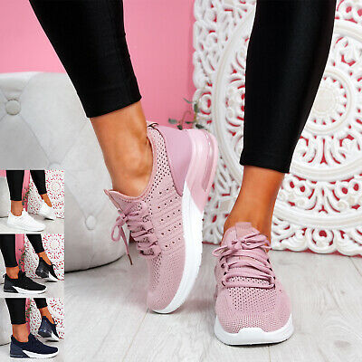 $ CDN22.29 • Buy Womens Ladies Knit Lace Trainers Sport Sneakers Running Women Shoes Size Uk