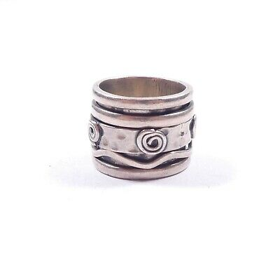 £29.99 • Buy Silver Spinner Ring Spinning Band Abstract Design 925 Sterling Heavy 12.1g