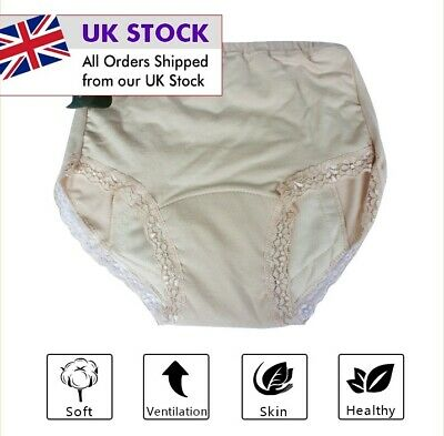 £8.99 • Buy Women Ladies Cotton INCONTINENCE Pants WASHABLE WITH PAD Briefs Knickers UK