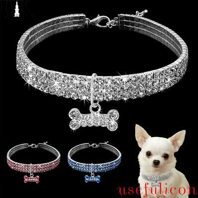 £3.52 • Buy Crystal Diamond Cats Dogs Collars Bling Rhinestone Necklace For Small Pets Puppy