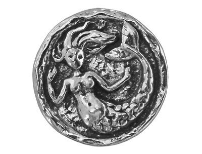 $4.25 • Buy Small Mermaid 9/16 Inch (15 Mm) Pewter Metal Button By Green Girl Studios