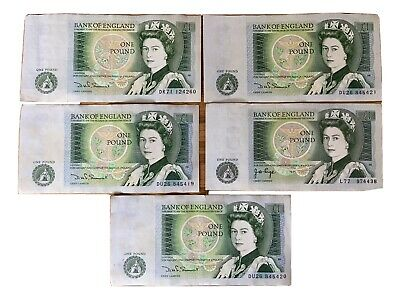 5 X One Pound Note £1 Note Old British Currency 80s Consecutive Order Rare Cash • 4.20£