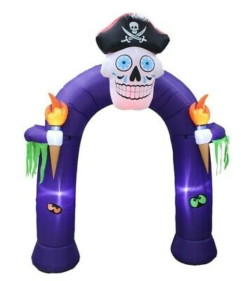 $ CDN100.30 • Buy 8 FT Halloween Inflatable Decoration Creepy Pirate Skull Archway Color Changing