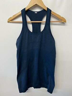 $ CDN49.99 • Buy LULULEMON RUN SWIFTLY Racerback Tank Top Size 4 Heathered Blue Black