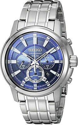 $ CDN281.97 • Buy New Seiko SSC387 Recraft Solar Chronograph Blue Dial Stainless Steel Mens Watch