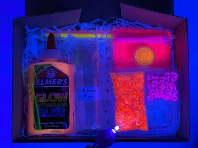 AU35.50 • Buy DIY Slime Kit - Gift / Holiday Pack - Glow In The Dark Kit - Neon Pink Selection