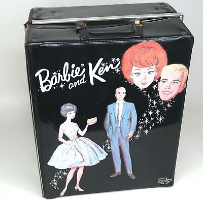 $ CDN24.18 • Buy Vintage Mattel 1963 BARBIE & KEN DOLL CASE Black 3 Doll