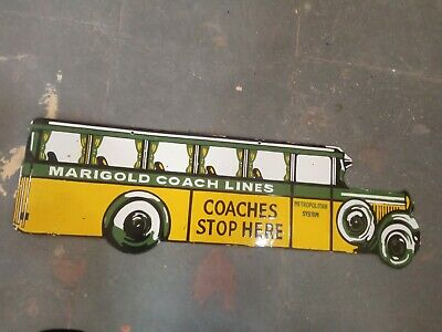 $ CDN104.34 • Buy Porcelain Marigold Coach Lines Enamel Sign Size 11  X 36  Inches Double Sided
