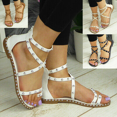 £12.95 • Buy Gladiator Sandals Ladies Shoes Flats Toe Post Strappy Womens Summer Comfy Size
