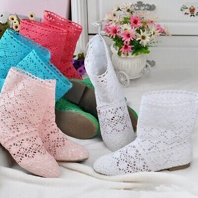 £26.74 • Buy Womens Knitted Cut Out Ankle Boots Mesh Bohemian Summer Flat Fashion Casual Shoe