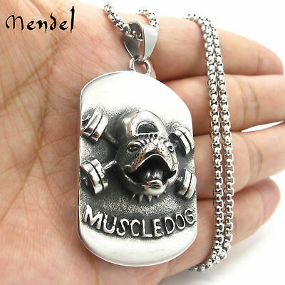 $14.49 • Buy Men's Muscle Dog Fitness Gym Barbell Fitness Pendant Necklace Men