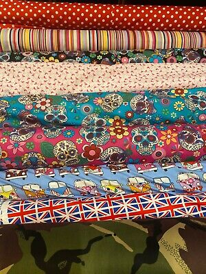 £8.99 • Buy Printed Fabric 100% Cotton Soft Mixed Designs Patchwork Material Poplin