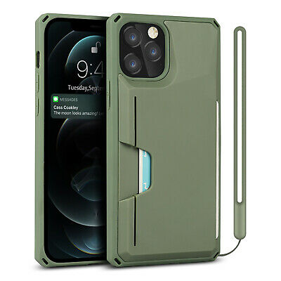 AU6.43 • Buy Shockproof Card Slot Back Case Cover For IPhone 11 12 Pro Max XS 7 8 With Strap