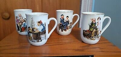$ CDN6.28 • Buy Lot Of 4 - Vintage 1982 Norman Rockwell Museum Collector's Mugs