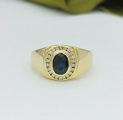 AU329 • Buy Ladies Ring 9ct (375, 9K) Yellow Gold Natural Sapphire And Diamond Ring