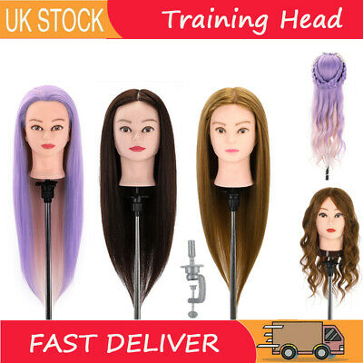 Training Head 14-28'' Real Human Hair Hairdressing Mannequin Styling Head Doll • 7.59£