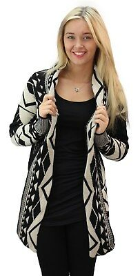 £14.95 • Buy Ladies Womens Open Front Long Sleeve Chunky Knitted Aztec Cardigan Top