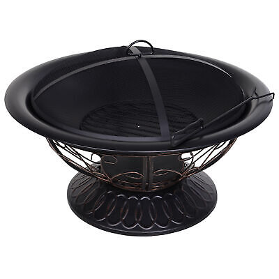 Outsunny Φ76cm Steel Round Patio Fire Pit Wood Log Burning Heater W/Poker Grate • 124.99£