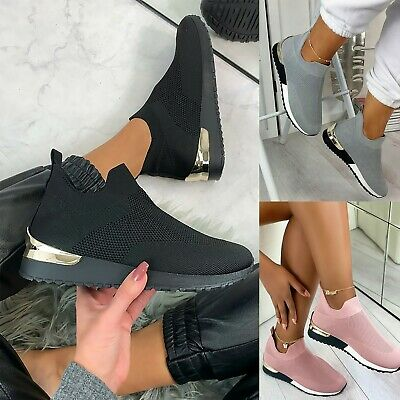 £14.99 • Buy Womens Ladies Sock Trainers Wedge Slip On Classic Sneakers Outdoor Pumps Shoes