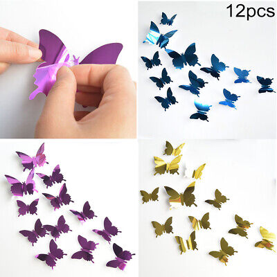 AU11.94 • Buy 12 Piece 3D Butterfly Wall Stickers Removable Decals Kids Nursery Wedding Decor