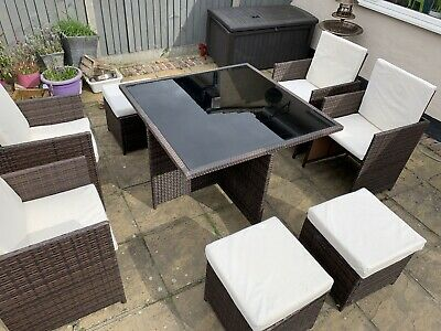 Rattan Brown Cube Garden Furniture Set. 9 Piece: Table. 4 Chairs, 4 Stools. Used • 280£