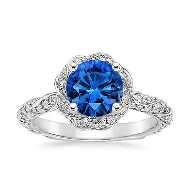 AU3702.78 • Buy Solid 14K White Gold 2.20 Ct Diamond Natural Blue Sapphire Ring Size N M P O