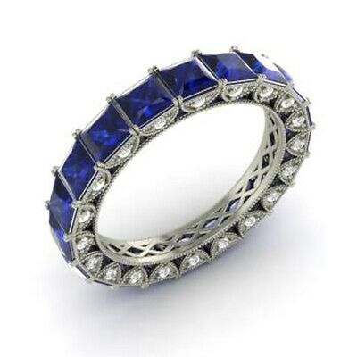 AU3103.20 • Buy 4.40 Ct Real Blue Sapphire Gemstone Diamond Band 950 Platinum Bands Size M N O P