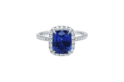 AU2974.91 • Buy Real 4.00 Ct Blue Sapphire Gemstone Diamond Ring Solid 950 Platinum Size N O P Q