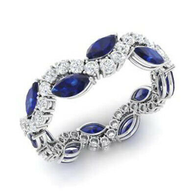 AU3045.74 • Buy Natural 3.40 Ct Sapphire Gemstone Band Solid 950 Platinum Diamond Bands Size N P